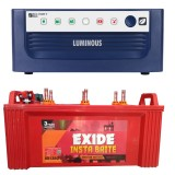 Luminous ECO WATT+ 650 Square Wave Inverter & EXIDE INSTABRITE IB1350 135AH Flate Plate Battery