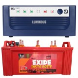 Luminous ECO WATT+ 850 Square Wave Inverter & EXIDE INSTABRITE IB1350 135AH Flate Plate Battery