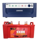 Luminous ECO WATT+ 650 Square Wave Inverter & EXIDE INSTABRITE IB1500 150AH Flate Plate Battery