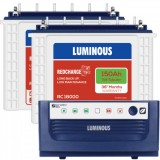 Luminous Eco Watt +1650 Square Wave Inverter & Luminous Red Charge TT18000 150AH Tall Tubular Batter